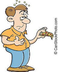 Cartoon Man Overeating - Cartoon illustration of a man over...