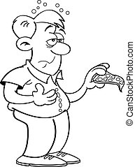 Cartoon Man Overeating - Black and white illustration of a...