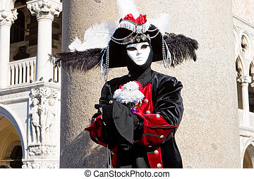 A man in costume at the Venice Carnival
