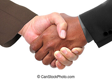 businessmen shaking hand - Close-up of two businessmen...