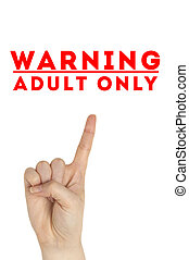 Open hand raised Adults Only sign painted