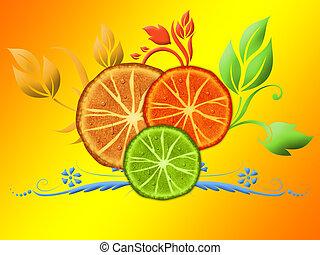 agrume, fette, su, il, arancia,