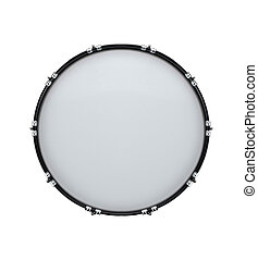 bass drum isolated on white in the closeup