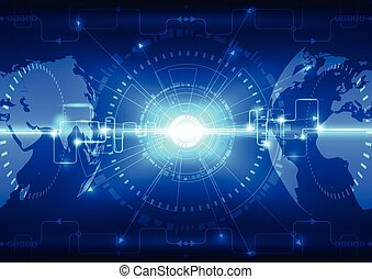 Abstract global future technology background, vector...
