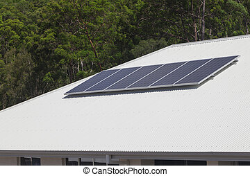 Solar panels on roof - Solar photovoltaic panels installed...