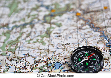 Satellites adventure - map and compass. - The magnetic...