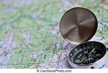 Equipment for travel - map and compass - The magnetic...