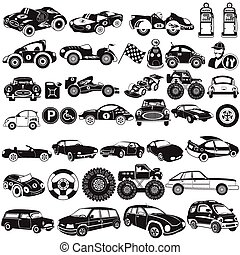 car black icons - Great collection of different car black...