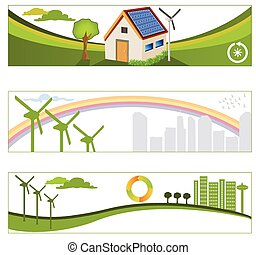 enewable green energy backgrounds - Vector collection of...
