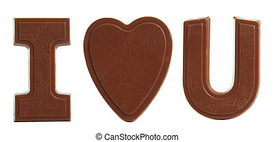 """I love you - """"I love you"""" in chocolate candy."""