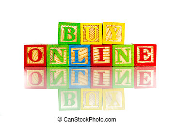 buy online word reflection on white background