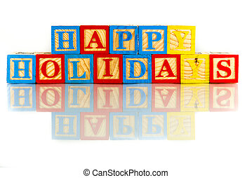 happy holidays words reflection on white background
