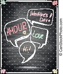 Valentines Day Lettering on a Chalkboard