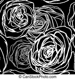 Seamless black rose pattern Floral background Vector