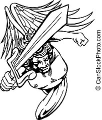 Angel Avenger - Angry angel with sword seeks vengeance.