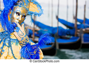 Gold and blue mask - Costume at the Venice Carnival with...