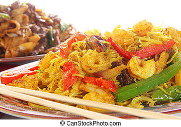 Chinese food, curry shrimp with noodles and vegetables.