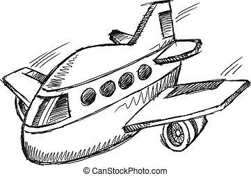 Jumbo Jet Doodle Sketch Vector