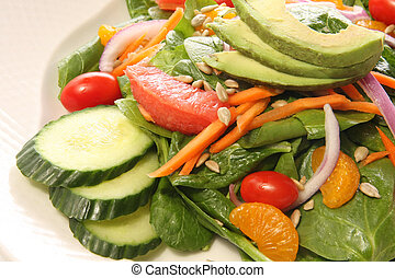 Spinach salad with fruit and avocado Also available in...
