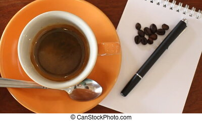 Fresh Cup Of Espresso With Notepaper On The Table, Stock...