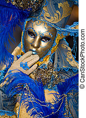 Venice carnival costume - Blue and gold costume at the...