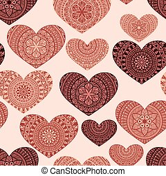 Vector Seamless Pattern with Hand Drawn Doodle Hearts, fully...