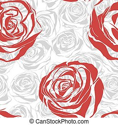 Seamless pattern with red blooming roses - vector seamless...
