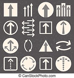 Arrow sign icon set on black background.