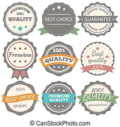 Best choice, guarantee and premium quality vector vintage badges