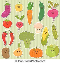 Cute vegetables, healthy food. Vector illustration
