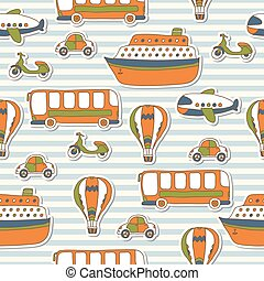 Seamless pattern with colorful transport