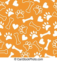 Seamless pattern with dog paw print, bone and hearts
