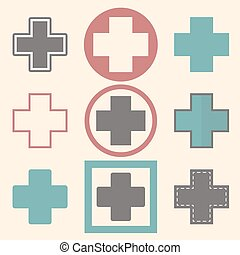 Set of medical logo icons with crosses. Medical design
