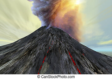 OUTBURST - An active volcano belches smoke and ash into the...