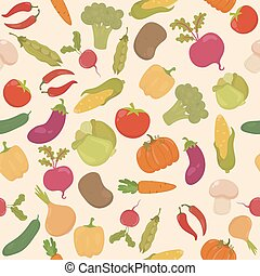 Vegetables seamless  pattern in vector