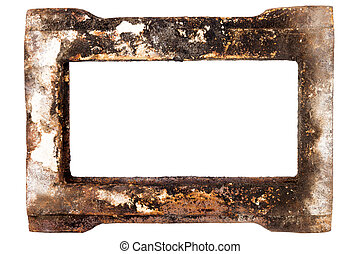Old rusty metal frame