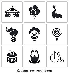 Circus Icons set - Circus Icon collection on a white...