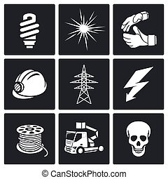 Electrical Company Icons set - Electricity Icon collection...