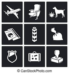 Airplane Drug trafficking icon set - drug trafficking by air...