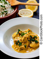 Chicken curry - chicken curry with boiled rice and spices