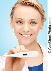 happy female doctor face with thermometer
