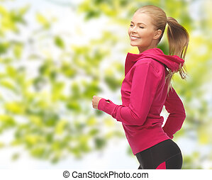 happy woman running or jogging - people, sport, fitness and...