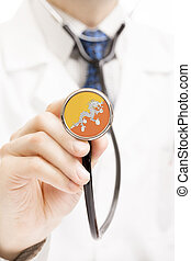 National flag on stethoscope conceptual series - Bhutan