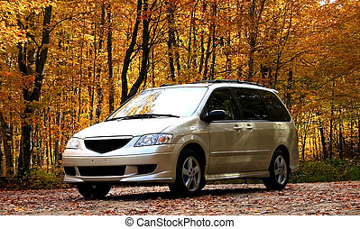 Mini Van infront of orange colored trees during late autumn