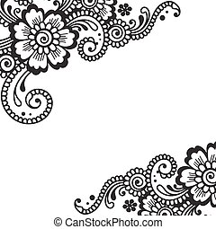 Flower vector ornament corner - White flower corner, lace...