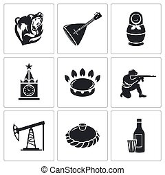 Russian World Vector Icons Set - Russian characters Icon...
