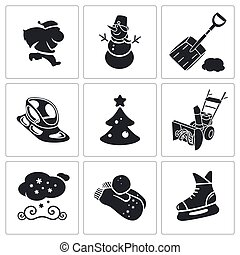 New Years Eve and Christmas Vector - winter icons Icon flat...