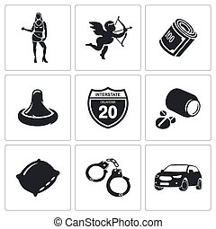 Vice squad Vector Icons Set - selling love Icon collection...