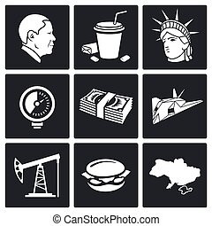 USA policy Vector Icons Set - America Icon flat collection...