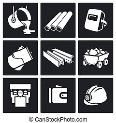 Metallurgy industry Icons set - Metallurgy Icon collection...